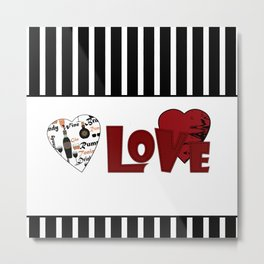 Valentine's day . Love. Black and white striped background . 2 Metal Print