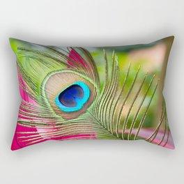 Peacock Feather in Nature Rectangular Pillow