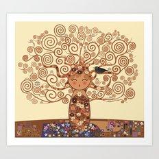 Kokeshi Tree of life Art Print