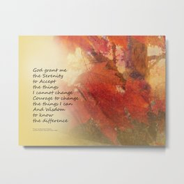 Serenity Prayer Maple Leaves Orange Metal Print