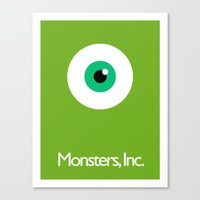 monsters inc Canvas Prints featuring Monsters Inc. by Kory Hill