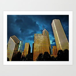 Glittering Chicago Skyline Art Print