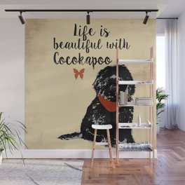 Black Cockapoo Dog Wall Mural