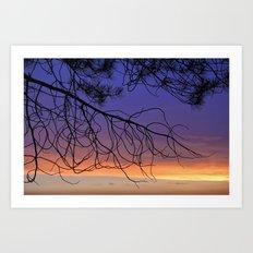Purple sunset. Into the woods Art Print