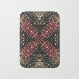X Marks the Spot Abstract textured Black Red and Gold Bath Mat
