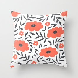 Red and Black Flowers Throw Pillow