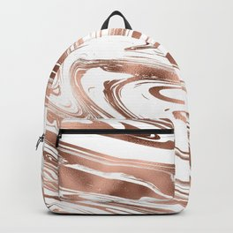 Elegant white rose gold modern trendy marble Backpack