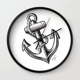 Anchor handmade Drawing, Made in pencil, charcoal and ink, Tattoo Sketch, Tattoo Flash Wall Clock