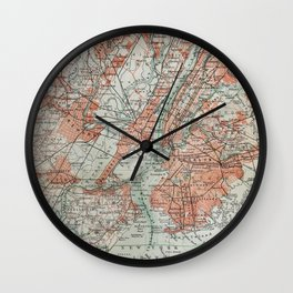 Vintage Map New York Wall Clock