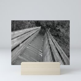 Wooden bridge Gießenbachklamm, black and white photo Mini Art Print