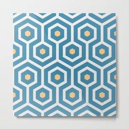 Meandering hexagons in a summerish design Metal Print