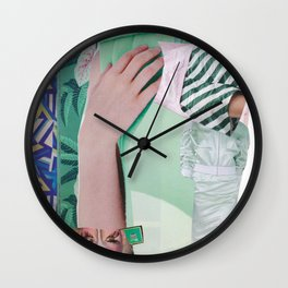 Wanda Goes on Vacation - green modern collage Wall Clock