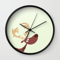 moose Wall Clocks featuring Moose by ValD