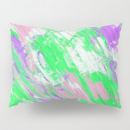 Fluid Acrylic Painting Multi Color Glitch Wave Effect Pink Purple Neon Green Pillow Sham