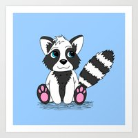 racoon Art Prints featuring Racoon by BlackBlizzard