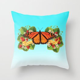 Monarch Butterfly with Strawberries on Aqua Throw Pillow