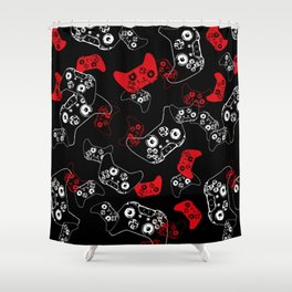 Video Game Red on Black Shower Curtain