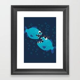 Gossiping Blue Piranha Fish Framed Art Print