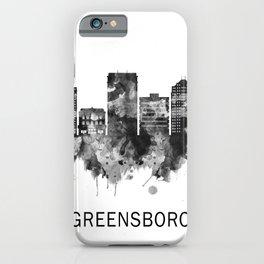 Greensboro North Carolina Skyline BW iPhone Case