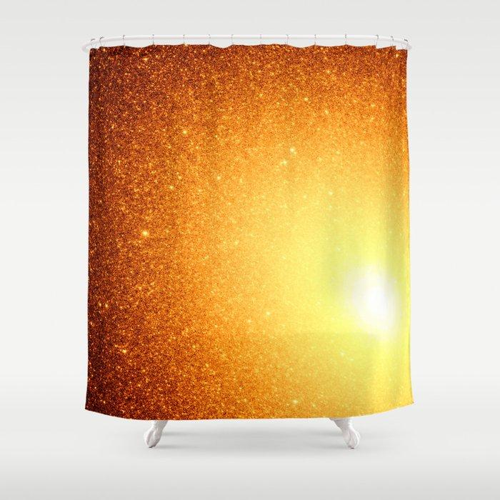 Golden Sun Stars Shower Curtain