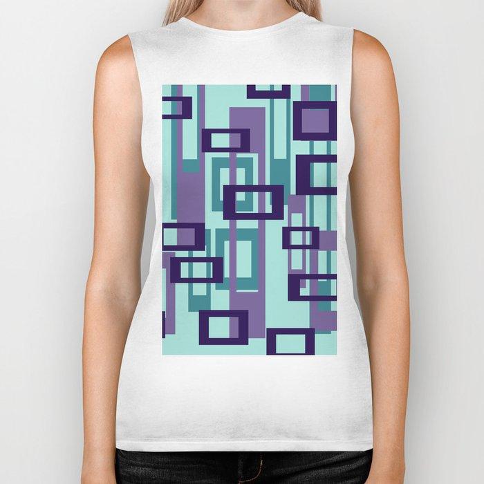 Geometric rectangles pattern violet Biker Tank