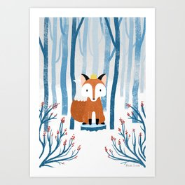 The Fox Prince in the Norwegian Winter Forest Art Print