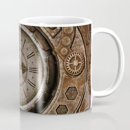 Brown Grunge Vintage Steampunk Clock Coffee Mug