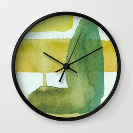 Green Stem Abstract Painting Wall Clock