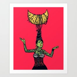 Aglaya's mother - Woman chained on moon with pink background  Art Print