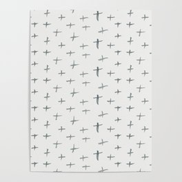 Abstract hand painted black white watercolor crosses Poster