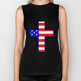 USA Stars and Stripes And Cross Biker Tank