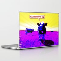 cows Laptop & iPad Skins featuring Psychedelic Cows by Peter Gross