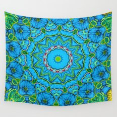 Lovely Healing Mandalas in Brilliant Colors: Blue, Green, Yellow, and Pink Wall Tapestry