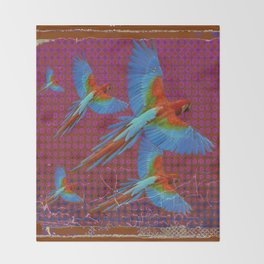 TROPICAL BLUE MACAWS MAROON-BROWN ART Throw Blanket