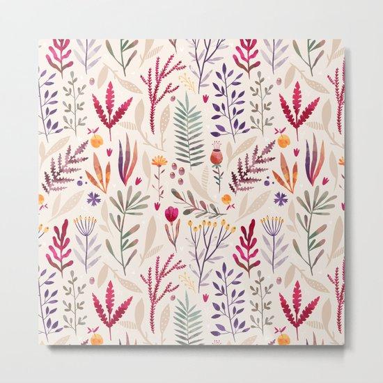 Light  Botanical Pattern Metal Print