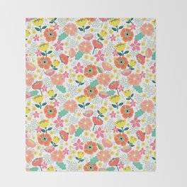 Wild Flowers Throw Blanket