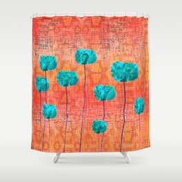 Vintage Poppy Flower Abstract Shower Curtain