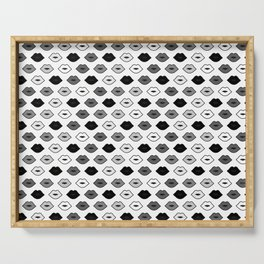Chessboard Lips - Black and White Serving Tray