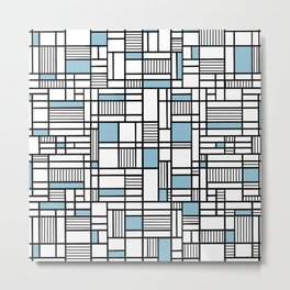Map Lines Sky Blue Metal Print