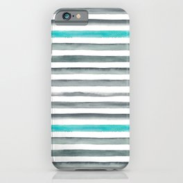 Watercolor Gray & Teal Stripe Pattern iPhone Case