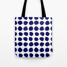 Aria - indigo brushstroke dot polka dot minimal abstract painting pattern painterly blue and white  Tote Bag