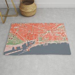 Barcelona city map classic Rug