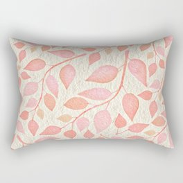 Coral Pink Leaves On Gold Rectangular Pillow