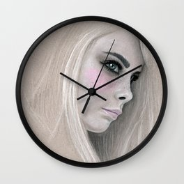 Cara Fashion Illustration Portrait Wall Clock