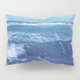 Blue Atlantic Ocean White Cap Waves Clouds in Sky Photograph Pillow Sham