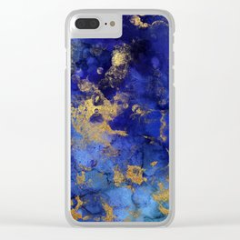 Gold And Blue Indigo Malachite Marble Clear iPhone Case