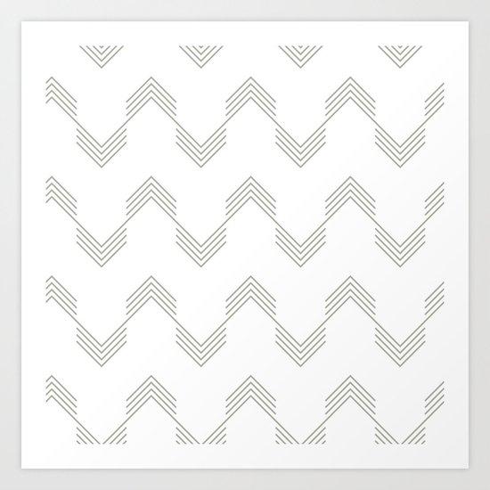 Simply Deconstructed Chevron Retro Gray on White Art Print