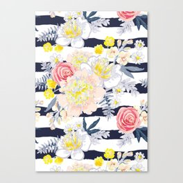 Peony bouquets striped Canvas Print