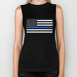 Thin Blue Line American Flag Biker Tank