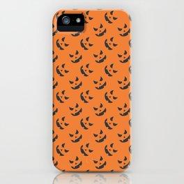 Halloween Pumpkin Face Pattern - Orange / Black Print - Spooky / Creepy iPhone Case
